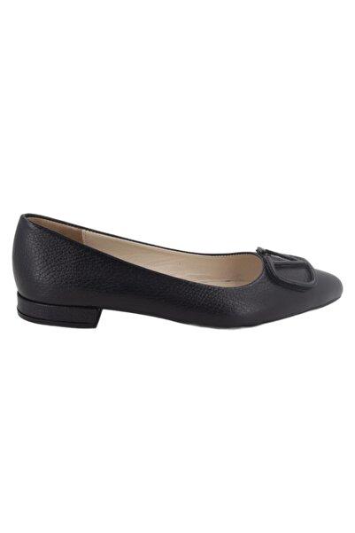 Hobby Kadın Siyah Deri Günlük Babet Ayakkabı 102