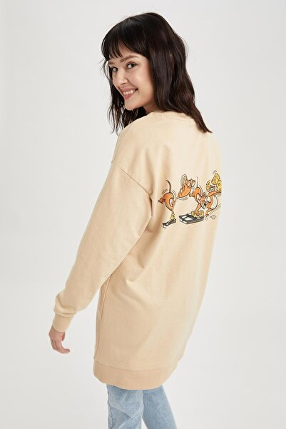 DeFacto Modest Tom Ve Jerry Lisanslı Relax Fit Tunik Sweat