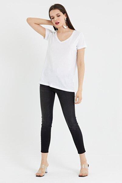 VENA Kadın Beyaz V Yaka T-shirt