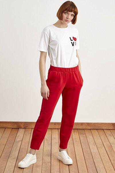 Love My Body Kadın Kırmızı Lastikli Cepli Örme Eşofman