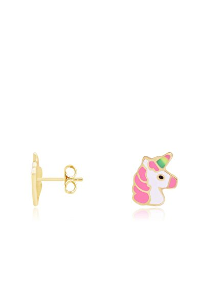 Diamond Line-Gülaylar Kız Çocuk Sarı Altın 14 Ayar Unicorn Küpe