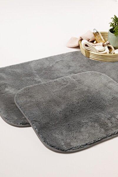 English Home Puffy Polyester 2'li Banyo Paspası Seti 60x90 + 50x60 Cm Antrasit