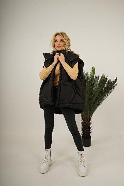 maysha Siyah Kapüşonlu Şişme Yelek