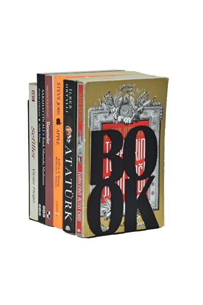 uberKraft Book Yazılı Metal Kitap Desteği - Kitap Tutucu - Ev ve Ofis Dekoratif Aksesuar ( 2 Li Set) Siyah