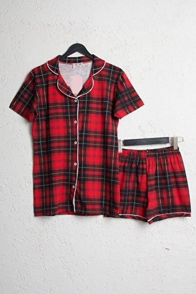 BSM Kadın Kırmızı Pamuklu Ekoseli Şortlu Gömlek Pijama Takımı