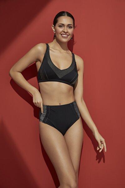 Bellisa Kadın Simli Garnili V Yakalı Yüksek Belli Free Set Bikini Takımı