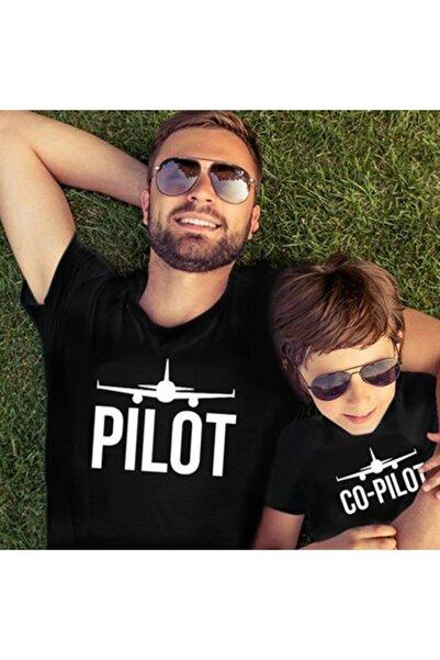 HediyeciAmca Baba Oğul Tişört Kombini Pilot Co-pilot Siyah T-shirt