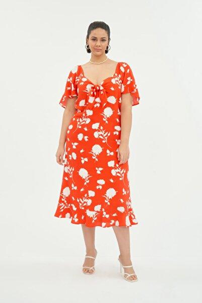 LUOKK Kadın Balon Kol Elbise