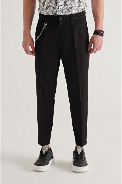 Avva Erkek Siyah Yandan Cepli Pileli Zincir Detaylı Düz Relaxed Fit Pantolon A11y3010