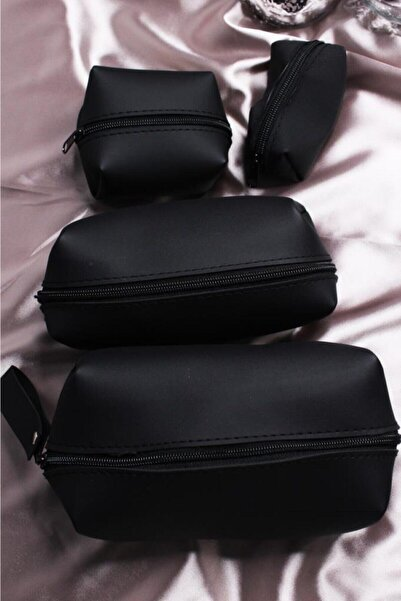 Hedy Beauty Kadın Siyah Makyaj Çanta Seti 4'lü
