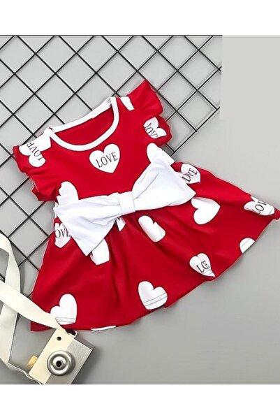 Beren Kids Love Desenli Kalp Detaylı Bebek Elbisesi