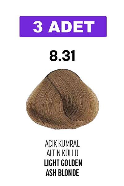 Bioplex 8.31 / Açık Kumral Altın Küllü - Light Golden Ash Blonde / Glamlook Profes. Saç Boyası 3 Adet