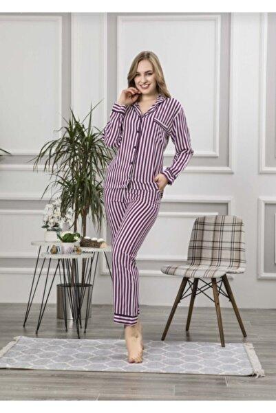 Manolya Kadın Mor Önden Düğmeli Pijama Takım
