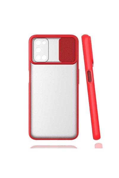 Oppo A72 Uyumlu Kaydırmalı Kamera Korumalı Pastel Renkler Kırmızı