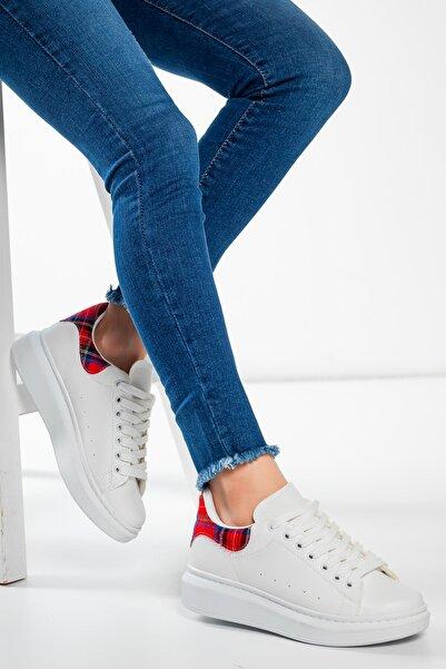 Exinoxs Kadın Mex Beyaz (ekose) Spor Ayakkabı
