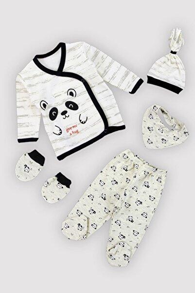 Peki Erkek Bebek Gri 4 Mevsim Panda Yenidoğan Fularlı Eldivenli Bereli Beşli Zıbın Takım 12383