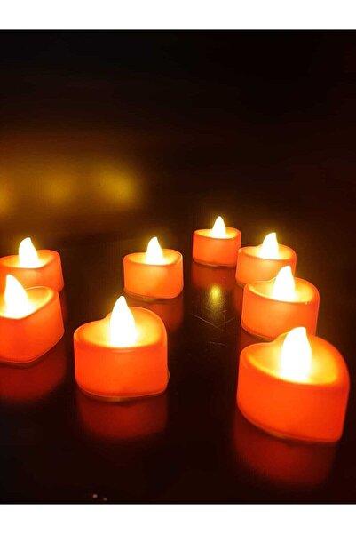 KAZIM ALIÇ Ledli Mum Kalpli Mum Tealight Mum Led Işıklı Dumansız Pilli Kalpli Led Mum 10 Adet