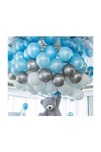 Parti dolabı 50 Ad A.mavi-beyaz-gümüş Metalik Balon, 5 Mt Balon Zinciri , Parti Balon Seti