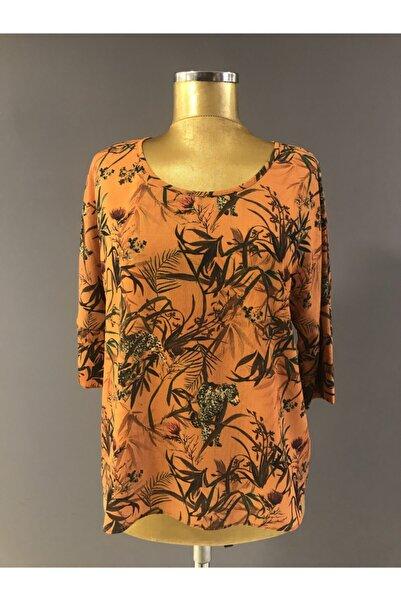İKİLER Trendabiye Kadın Oranj Renkli Bluz K:4007