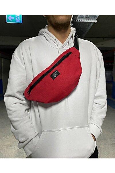 Moda West Unisex Kırmızı Çift Bölmeli Bel Ve Omuz Çantası