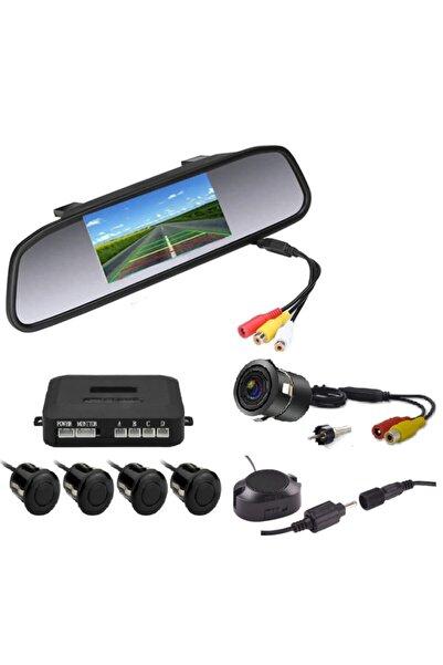EMA-MFK Kameralı Park Sensörü 4.3 '' Ayna Ekranlı Siyah Sensör Full Set