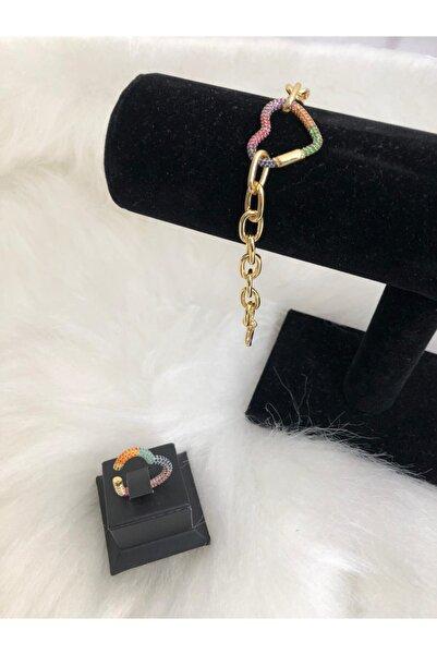 ZİRKONTAŞ Kadın Bujiteri Renkli Kalp Bileklik Kalp Kıkırdak Küpe Ikili Set