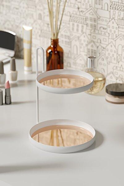 LİLLA HOME Rose Gold , Beyaz Metal Takı Banyo Mutfak Makyaj Düzenleyici Organizer 20 cm