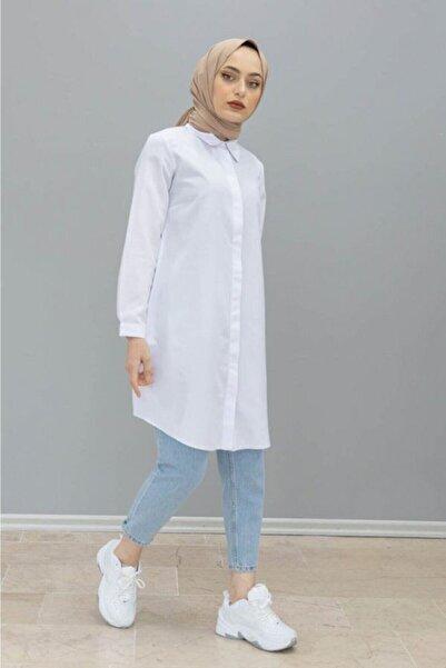 Sahra Şal Dünyası Boyfrend Gömlek Beyaz