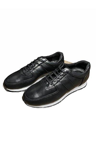 Uptown Erkek Siyah Hakiki Deri  Sneaker