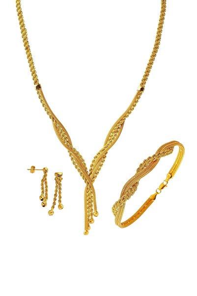 Bilezikci Örgü Zincir Taşsız Altın Takı Seti