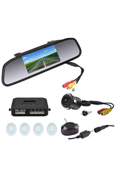 Mfk Kameralı Park Sensörü 4.3 '' Ayna Ekranlı Beyaz Sensör Full Set