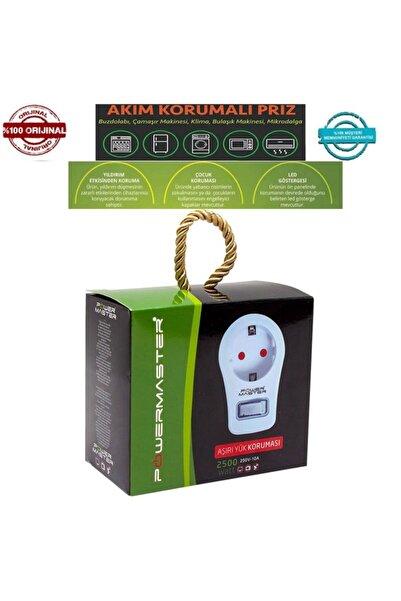 Powermaster Anahtarlı Beyaz Akım Korumalı Priz - Çocuk Koruyuculu