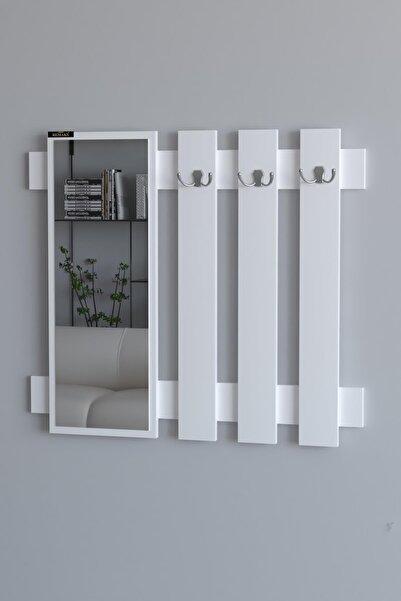 Remaks Hook Aynalı Vestiyer Portmanto Ve Duvar Askısı - Beyaz