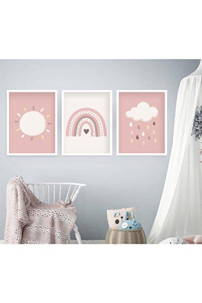 tablosetleri 3 Adet 33 X 45 cm Büyük Boy Çerçeveli Bebek Çocuk Odası Tablo