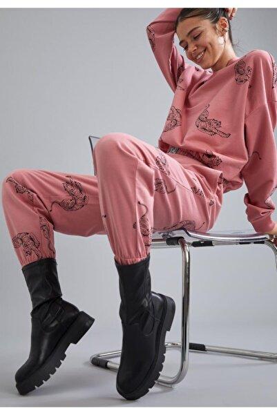 DeFacto Kadın Pembe Baskılı Relax Fit Jogger Eşofman Altı