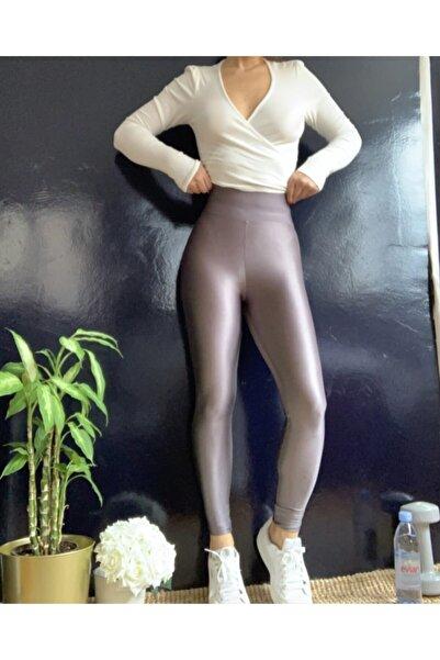 SUPRE FIT Kadın Gri Parlak Yüksek Bel Disco Tayt