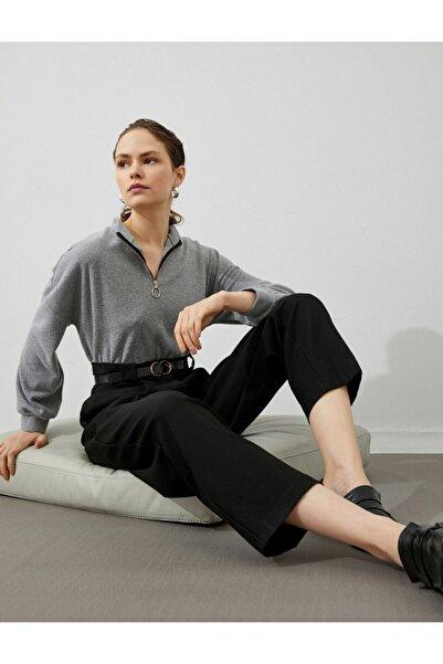 Koton Kadın Siyah Yüksek Bel Crop Culotte Pantolon