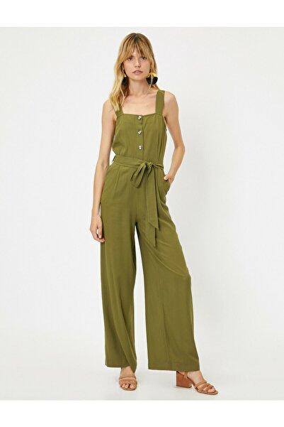 Koton Kadın Yeşil Cep Detayli Tulum
