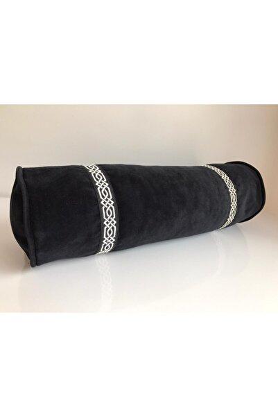 Kırlent dünyası Siyah Özel Tasarım 18x50cm Döşemelik Kadife Silindir Yastık Kılıfı