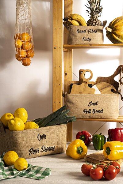 Volipa 3'lü Jüt Hasır Sepet, Banyo Ve Mutfak Düzenleyici Doğal Katlanabilir Sepet