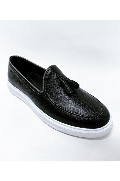 stok83 Erkek Siyah Hakiki Deri Püsküllü Ayakkabı