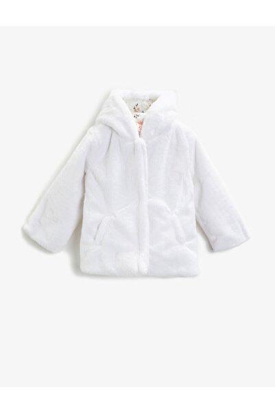Koton Kız Çocuk Beyaz Kapüşonlu Pelüş Fermuarlı Mont