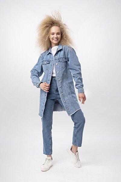 De-mim Kadın Mavi Trucker Ceket