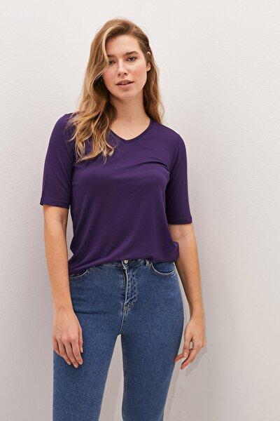 LC Waikiki Kadın Koyu Mor Classic Tişört