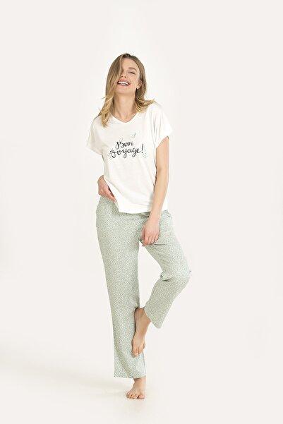 NBB Kadın Yeşil Çıtır Çiçek Desen Pijama Takımı 67159