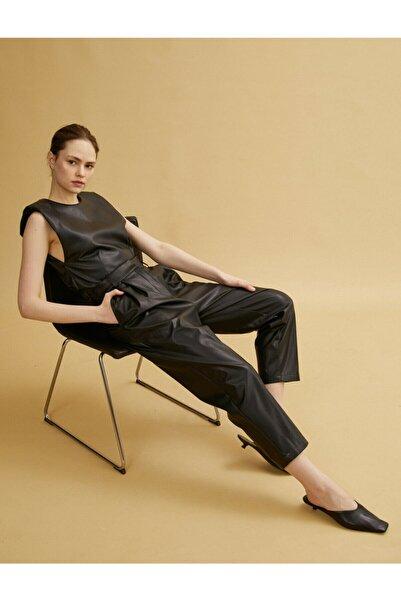 Koton Kadın Siyah Deri Görünümlü Pantolon