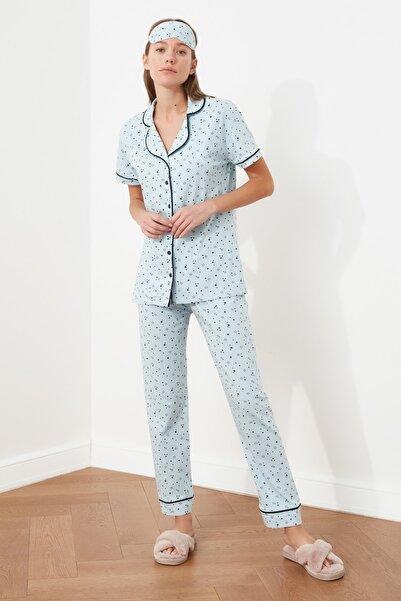 TRENDYOLMİLLA Mavi Baskılı Örme Pijama Takımı THMSS21PT1233