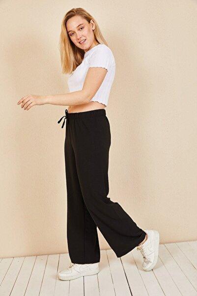 Moda Bu Kadın Siyah Beli Lastikli Bol Paça Salaş Yazlık Pantolon Aerobin-865829