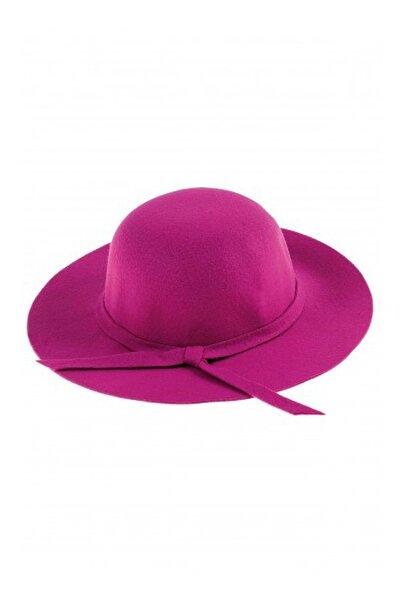 Bay Şapkacı - Kız Çocuk Geniş Kenarlı Kaşe Şapka 7168 Fuşya