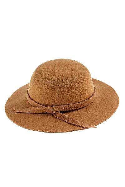 Bay Şapkacı - Kız Çocuk Geniş Kenarlı Kaşe Şapka 7168 Kahverengi